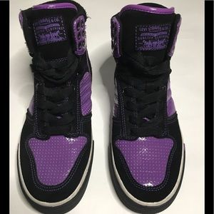 Levi's Purple and Black High Top Sneakers Size 6.5